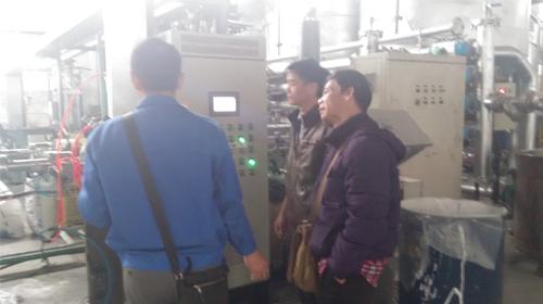 恒盛胶业技术员与远东泵业技术工程师现场技术交流